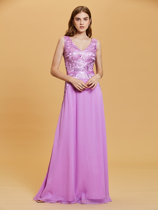 V Neck Beaded Sequins A Line Evening Dress