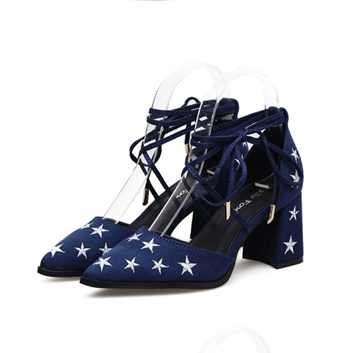 Embroidery Star Lace Up Pointed Toe Women's Pumps