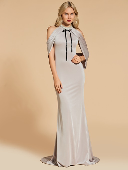 Open Shoulder Beading Bowknot Trumpet Evening Dress