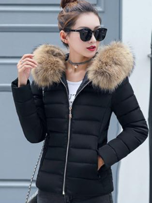 Faux Fur Hooded Slim Women's Overcoat