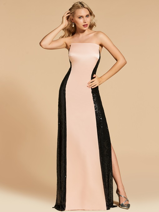 Strapless Sheath Split-Side Sequins Evening Dress