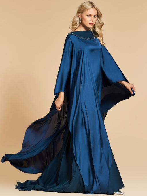 A-Line Beading Long Sleeves Bateau Evening Dress