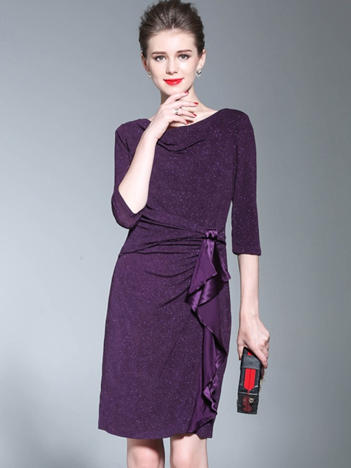 Purple Half Sleeve Women's Wrap Dress