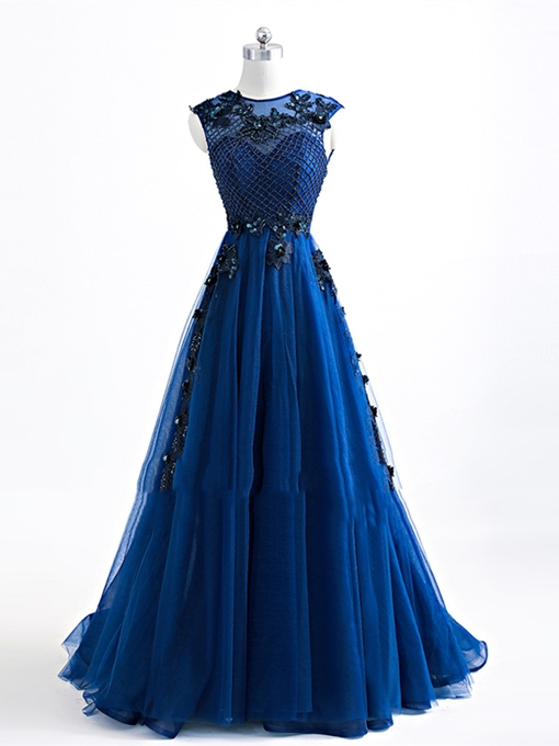A-Line Jewel Appliques Beading Evening Dress