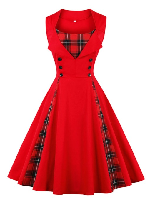 Plaid Patchwork Damen Kleid Kleid
