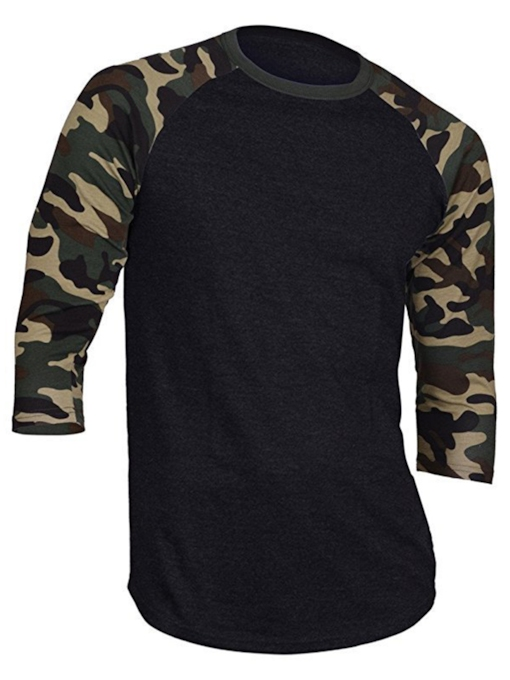 Round Collar Camouflage Print Slim Men's T-Shirt