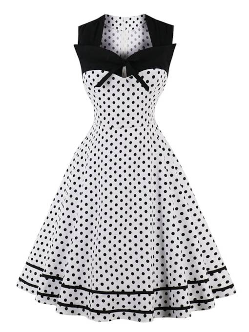 Square Neck Polka Dots Women's A-Line Dress