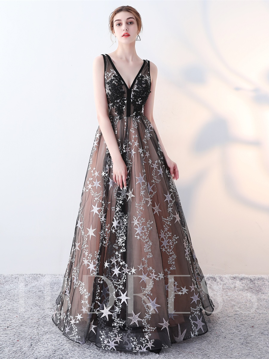 Image of A-Line Embroidery V-Neck Lace Evening Dress