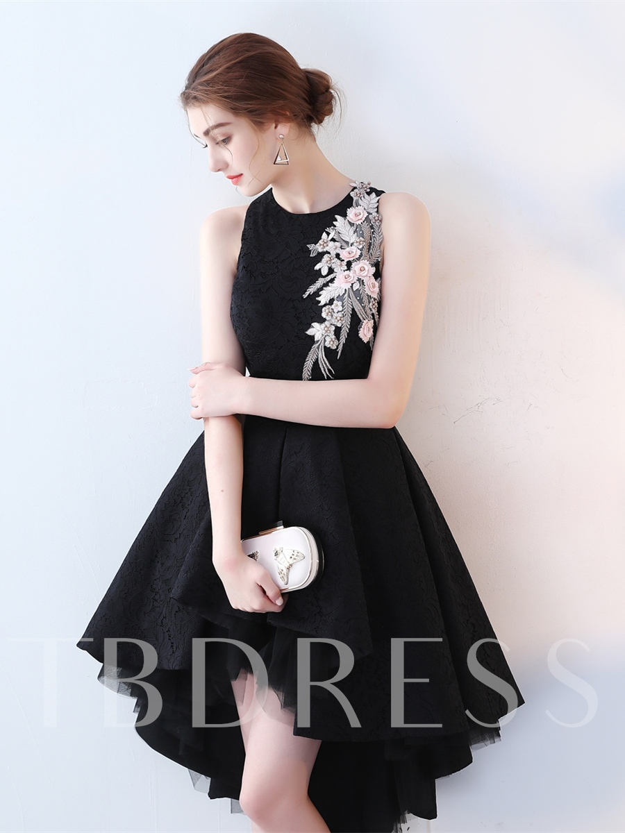 Image of A-Line Jewel Embroidery Lace High Low Cocktail Dress