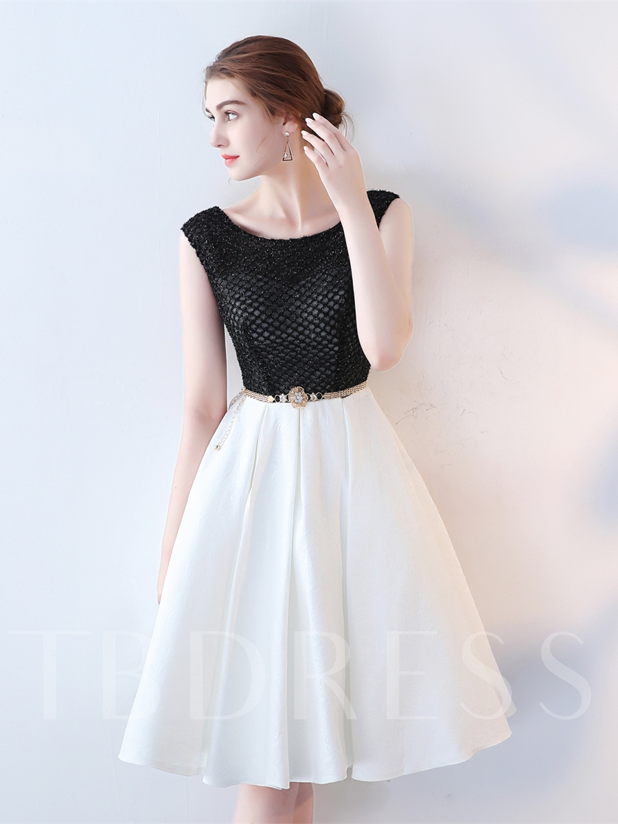 Image of A-Line Cap Sleeves Beading Sashes Cocktail Dress