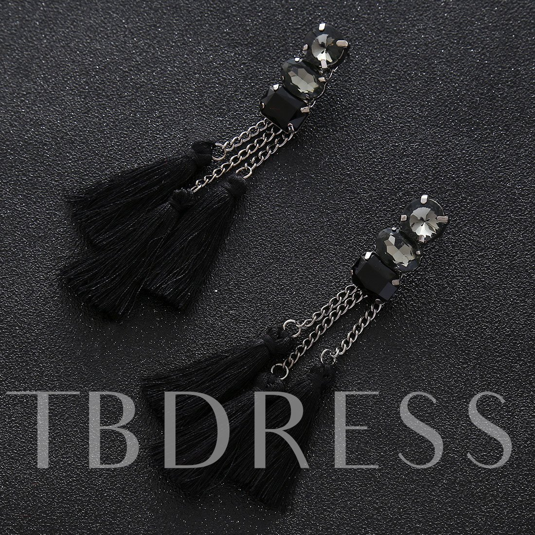 Long Chian Resin Alloy Tassel Earrings