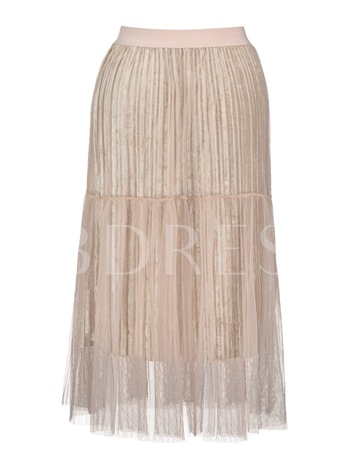 Mesh Patchwork Pleated Vacation Women's Skirt