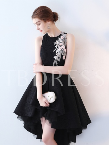 A-Line Jewel Embroidery Lace High Low Cocktail Dress