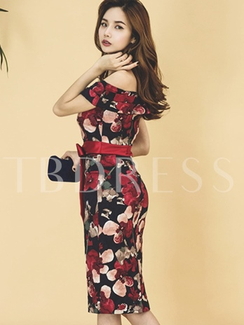 Off Shoulder Lace up Printing Women's Bodycon Dress