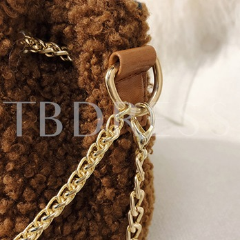 Chic Solid Color Plush Peal Chain Cross Body Bag