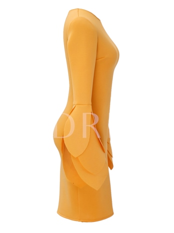 Yellow Bell Sleeve Women's Bodycon Dress