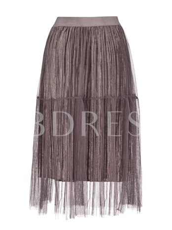 Mesh See-Through Pleated Vacation Women's Skirt