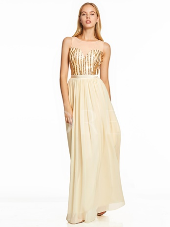Scoop Neck Sequins A Line Prom Dress