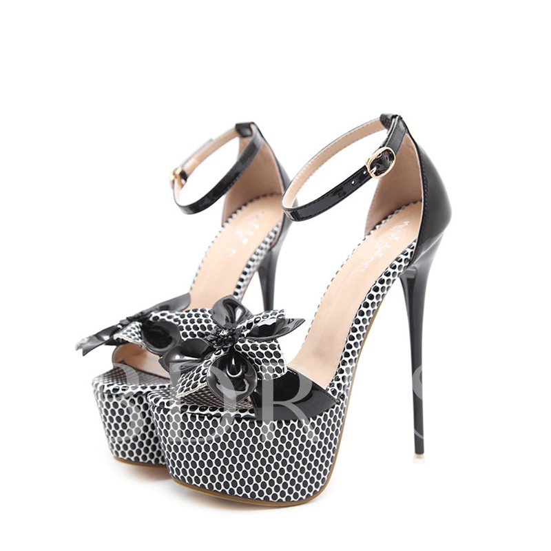 Dot Floral High Heel Platform Women's Black Sandals