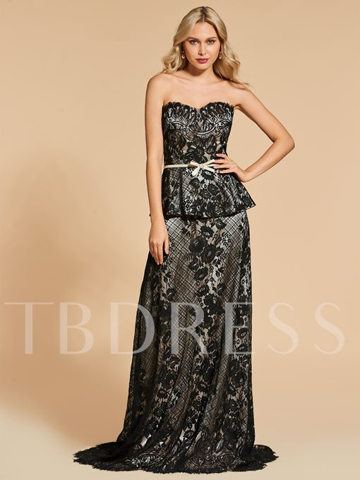 Sweetheart A-Line Lace Sashes Sweep Train Evening Dress