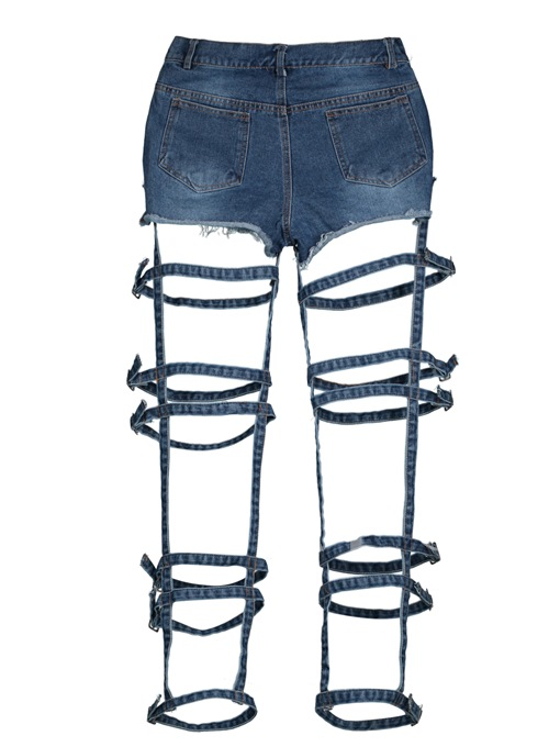 Denim Hollow Worn High-Waist Women's Jeans