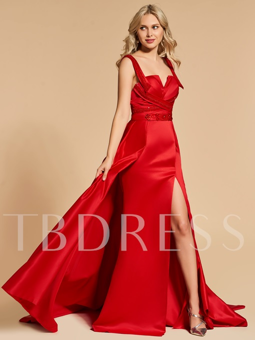 A-Line Straps Beading Split-Front Evening Dress