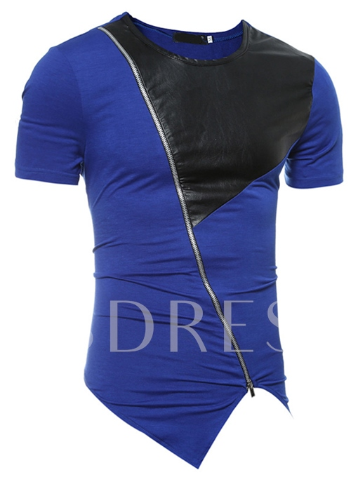 Round Collar Inclined Zipper Patchwork Slim Men's Short Sleeve T-Shirt