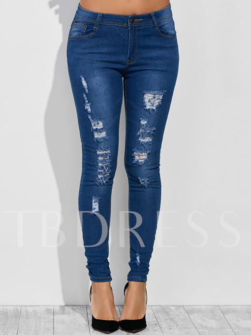Tight Washable Denim Hole Women's Jeans