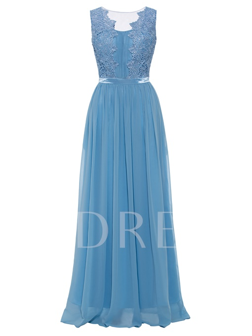 Scoop Neck Lace Appliques A Line Long Evening Dress