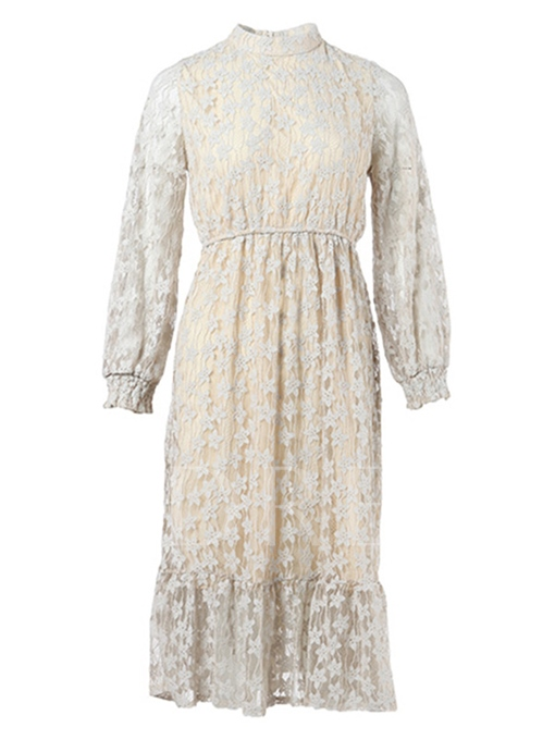 Light Apricot Back Zipper Women's Lace Dress