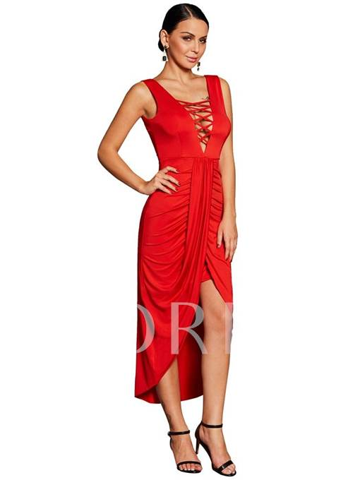 Lace Up Asym Casual Women's Party Dress