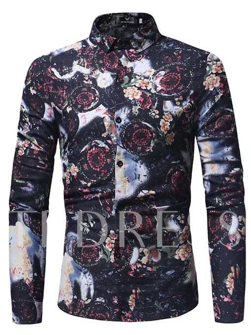 Floral Print Lapel Slim Men's Leisure Shirt