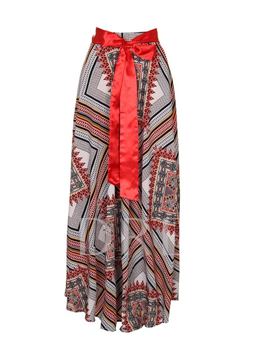 African Printed Casual High Waisted Lace-Up A Line Women's Skirt