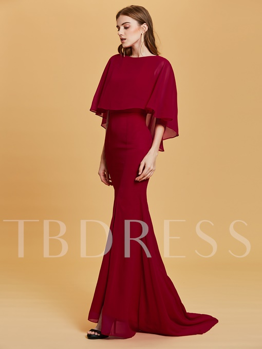 Bateau Neck Half Sleeves Sheath Evening Dress