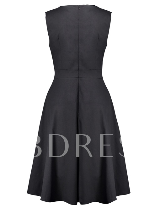 Back Zipper Sleeveless Day Dress