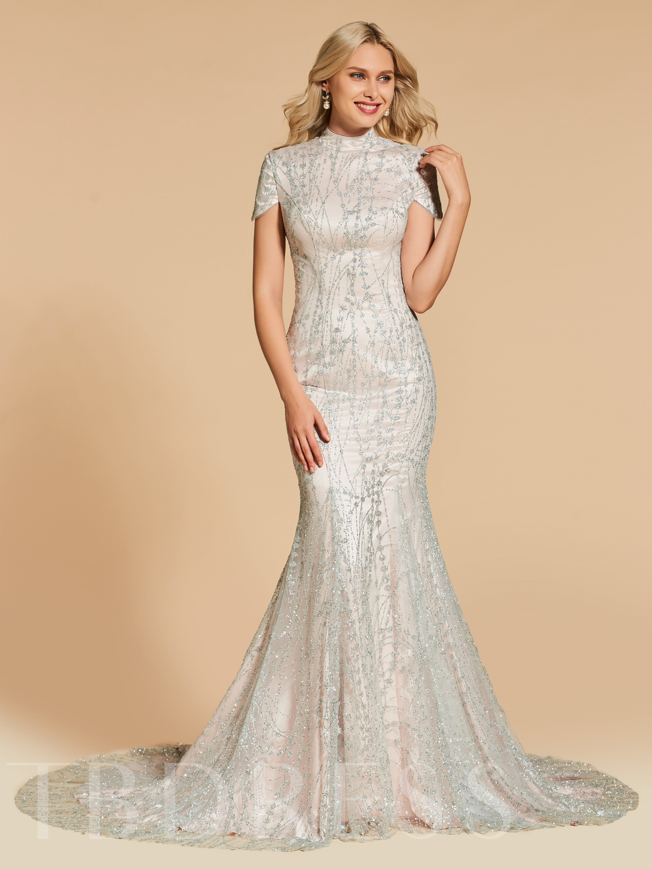 Buy High Neck Mermaid Short Sleeves Lace Evening Dress, Spring,Summer,Fall,Winter, 13117587 for $175.29 in TBDress store