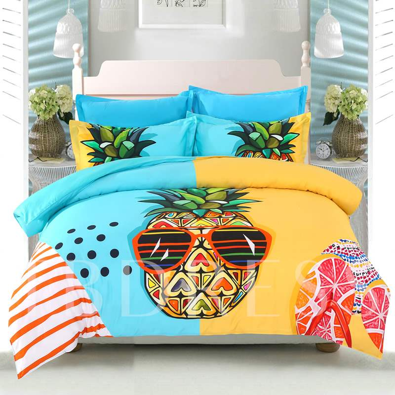 Cool Pineapple Seaside Leisure Casual Style 4-Piece Cotton Bedding Sets/Duvet Covers