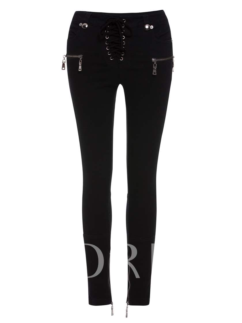 Ankle Length High-Waist Lace-Up Women's Skinny Pants