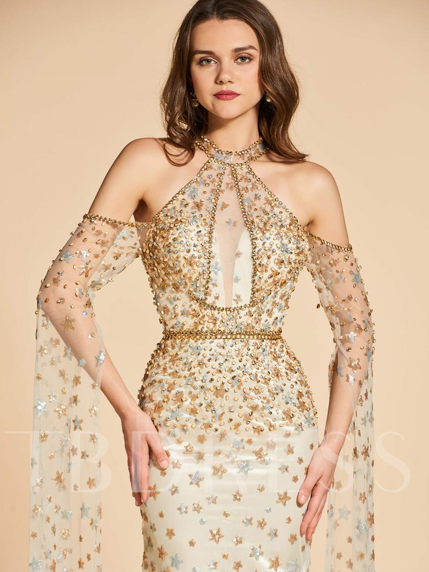 Open Shoulder Button Sequins Lace Evening Dress