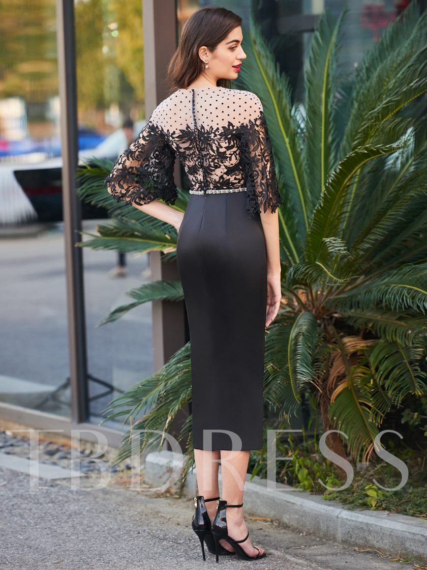 Sheath Beading Button Lace Cocktail Dress