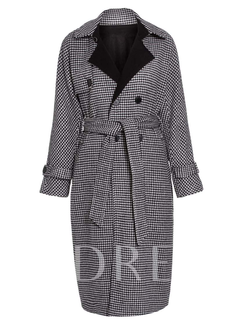 Gingham Belted Waist Buttons Women's Trench Coat
