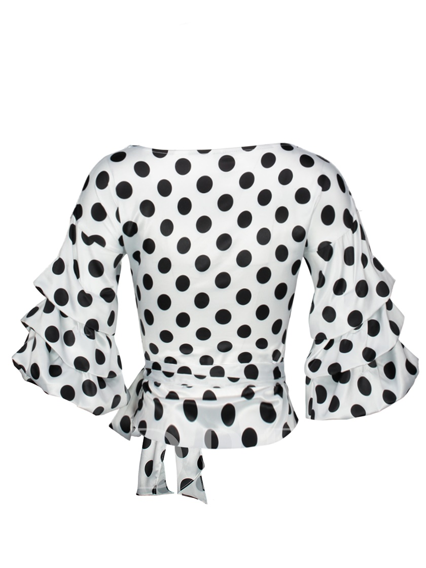 Polka Dots V-Neck Heap Sleeve Women's Blouse