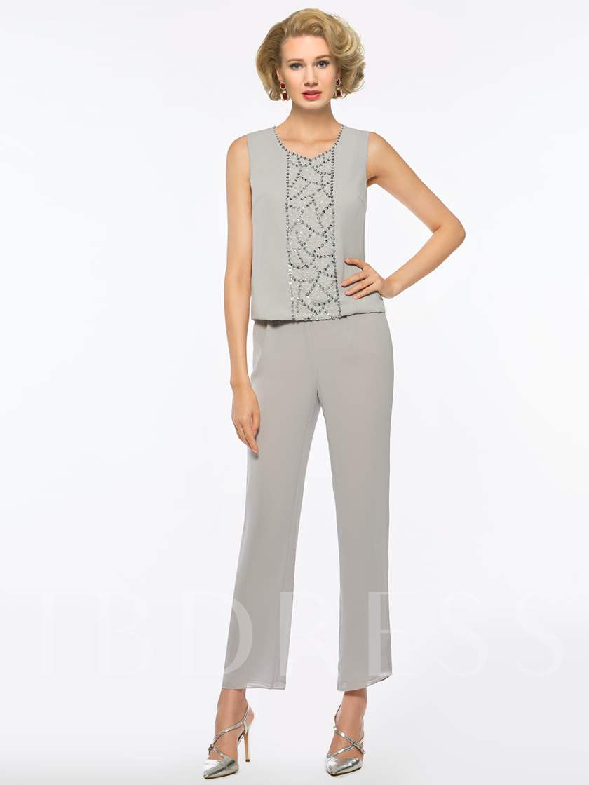 Sequines 3 Pieces Mother of the Bride Pantsuits with Jacket