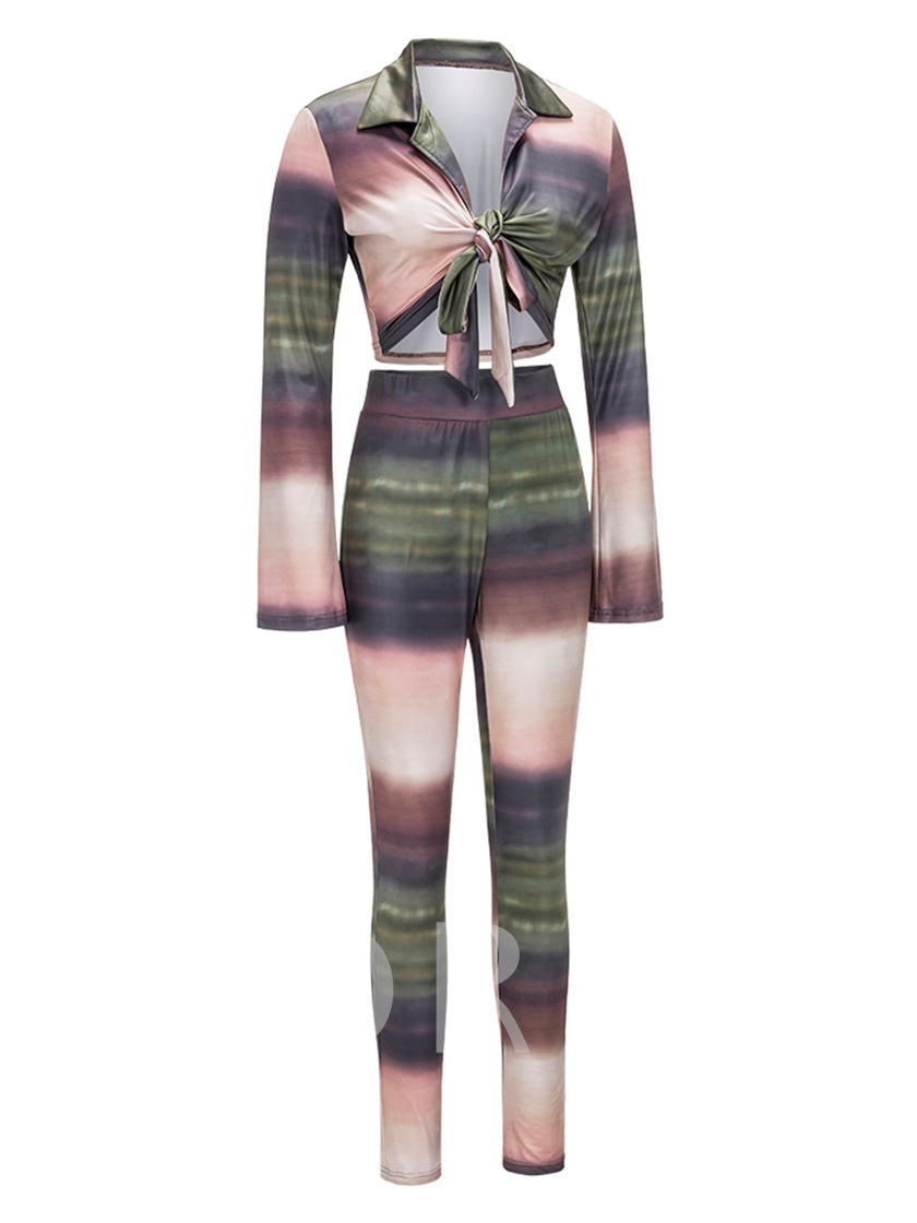 Color Block Self Belted Women's Two Piece Outfit