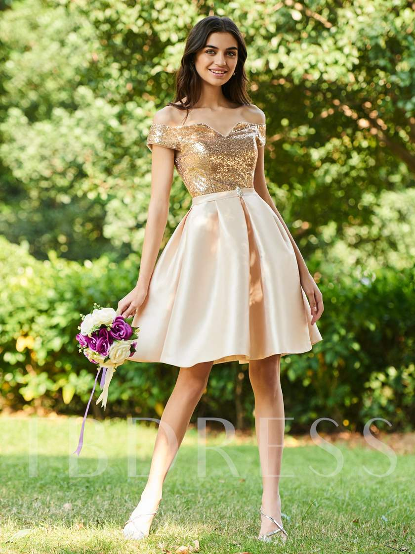 Off the Shoulder Short Sequined Bridesmaid Dress