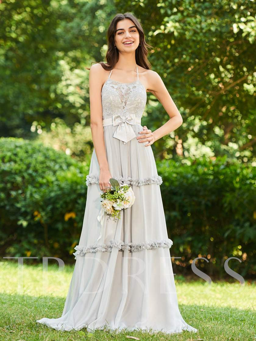 Halter Lace Ruffles Backless Bridesmaid Dress