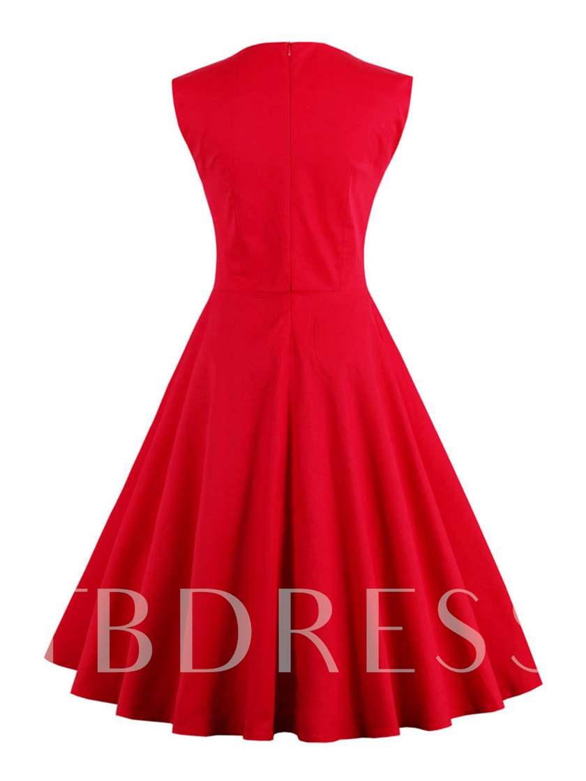 Red Square Neck Pleated Women's Day Dress
