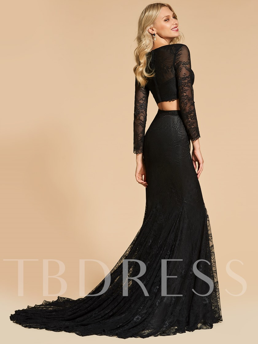 Mermaid Lace Scoop Long Sleeves Two-Pieces Evening Dress