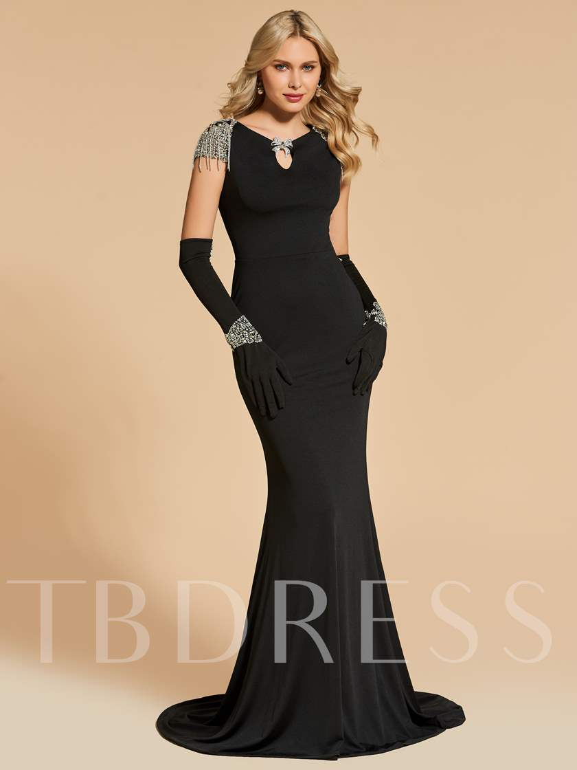 Trumpet Bateau Beading Sweep Train Evening Dress