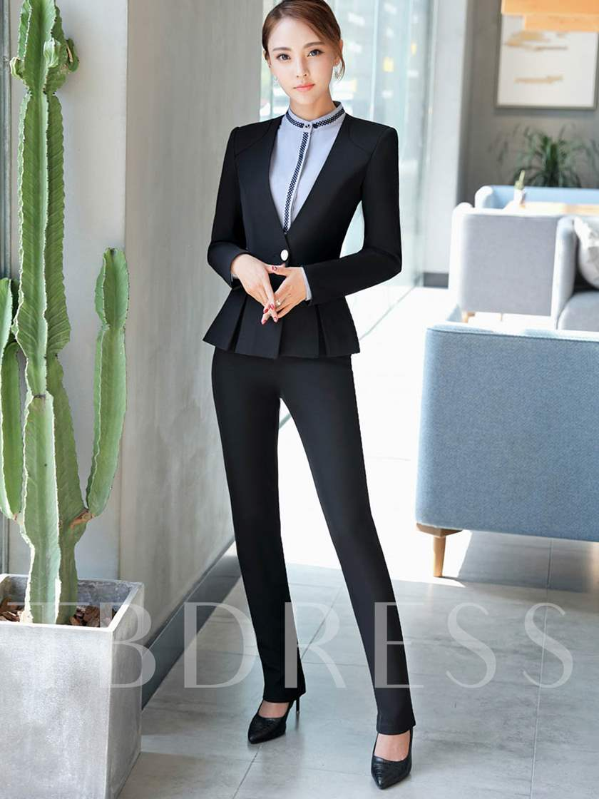 Ruffle Hem Blazer and Pants Women's Suit